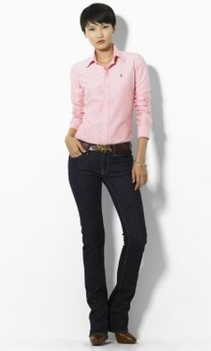 Megan Solid Oxford Shirt - Blue Label Long-Sleeve - RalphLauren.com