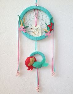 Dreamcatcher with a mermaid for kids - Ariel mermaid - mermaid mobile - room decor - nursery mobile Little Mermaid Nursery, Mermaid Room, Baby Mermaid, The Little Mermaid, Mermaid Mermaid, Diy For Kids, Gifts For Kids, Mobiles, Dream Catcher Mobile