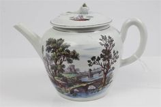 lot 217 18th century Worcester teapot and cover with Hancock printed and painted with 'Sutton Hall' and 'Two Bridges' pattern, circa 1765