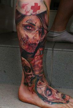 Zombie nurse. Deff not something I would ever get but man.... This tatt is done well ! True talent !