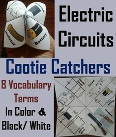 These cootie catchers/ fortune tellers are a great way for students to have fun while learning about electrical circuits, while building their vocabulary. These cootie catchers contain the following vocabulary terms on electrical circuits: Circuits, Parallel circuit, Series circuit, Current, Battery, Conductor, Insulator, Switch