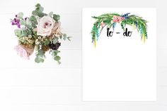 Notes To Do List Planner Stationary Floral  by PotentQuotesEtsy