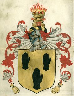 """A burning Castell gold"". -- This is a formal grant of arms and crest to Robert Horsseman, of Ripon (Yorkshire), by Robert Cooke, Clarenceux King of Arms, on May 26, 1590. The coat is described as ""the field gold, three Gantlets Sable"" with the crest ""a burning Castell gold"". -- Robert Cooke (d. 1592), Clarenceux King of Arms. «Grant of arms to Robert Horsseman of Ripon, Yorkshire». Manuscript, May 26, 1590."