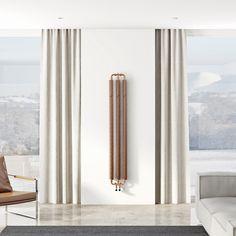 Terma Ribbon copper vertical radiator 1720 x 290 Bathroom Radiators, Vertical Radiators, Electric Radiators, Steel Columns, Designer Radiator, Industrial House, Wall Spaces, Contemporary Interior, Architecture Design
