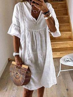 Γυναικεία Φόρεμα ριχτό Φόρεμα μέχρι το γόνατο - Μισό μανίκι Φλοράλ Στάμπα Καλοκαίρι Λαιμόκοψη V Καθημερινό καυτό φορέματα διακοπών Φαρδιά 2020 Θαλασσί M L XL XXL 3XL 2020 - € 16.9 Half Sleeve Dresses, Knee Length Dresses, Half Sleeves, Short Sleeves, Lace Summer Dresses, Party Dresses For Women, Casual Dresses, Floryday Dresses, Linen Dresses