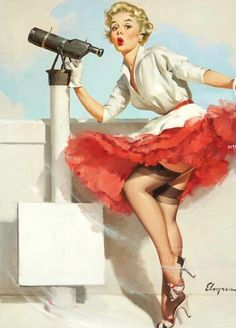 "PINUP Prints-Gil Elvgren-Cotton Sheet- Handprinted Cotton Art Reprodn Applique Vintage Sexy Pin-up Girl Gil Elvgren ""What a view"" , 1957 Pinup Art, 1950 Pinup, Pin Up Vintage, Retro Pin Up, Vintage Style, Vintage Art, Retro 2, Pin Up Illustration, Gravure Illustration"