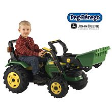 John Deere Tractor With Loader - Peg Perego The kid could do the landscaping with this! It's a pedal-car, not a battery powered ride-on. A bargain at only $230!