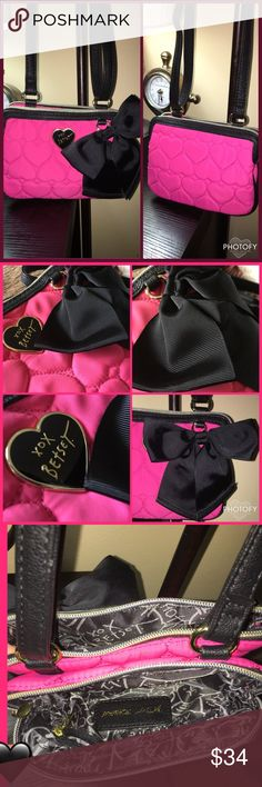 NWOT Betsey Johnson Quilted Heart Bow Purse I have the same crossbody in black and love it!!   I searched & searched until I found it in hot pink on another site. The seller said it's NWOT.  They have two compartments and inside one is a zip pocket.   I'm pairing down my purse collection to purchase more I want...my husband thinks I've lost my mind, lol. You fellow Poshers know how it is .   All our items come from our nonsmoking, pet friendly (Morkie) home. Betsey Johnson Bags Crossbody…
