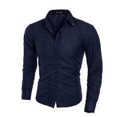 Men Fashion Dark Striped Business Slim Fit Long Sleeve Casual Dress Shirt  #Affiliate