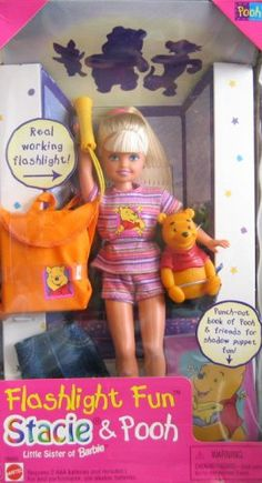 Barbie STACIE Flashlight Fun Stacie & Pooh I wanted one of those when I was a kid! Childhood Memories 90s, Childhood Toys, Barbie I, Mattel Barbie, Baby Barbie, Barbie Kelly, Barbie Style, Barbie Clothes, Barbie Sisters