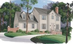 Dormers over the garage add charm to the large bonus room in this 3 bedroom Colonial Home.  House Plan # 101060.