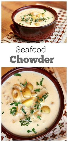 Chowder Easy Seafood Chowder Recipe from : so simple and creamy. the perfect soup for fresh seafood!Easy Seafood Chowder Recipe from : so simple and creamy. the perfect soup for fresh seafood! Seafood Soup Recipes, Seafood Stew, Chowder Recipes, Seafood Dinner, Fresh Seafood, Chowder Soup, Crab Chowder, Seafood Seasoning, Fish Recipes