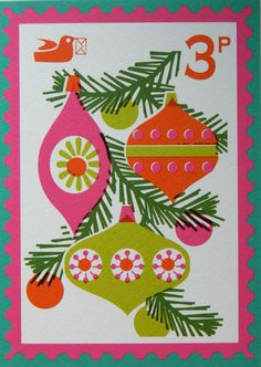 Vintage Style Christmas Stamp Postcard by alice by aliceapple, £1.50