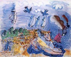 Watercolor by Raoul Dufy  The Avenue du Bois de Boulogne (1928)    http://www.raoul-dufy.com/images/pafauv33_2.jpg