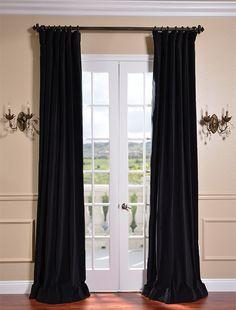Ebony Black Vintage Cotton Velvet Curtain