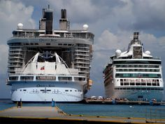 """Royal Caribbean """"Oasis of the Seas"""" next to """"Grandeur of the Seas."""" The """"Oasis of the Seas"""" has 3 neighborhoods. I had to repin this...our 1st Cruise Ship docked next to our next and biggest Ship. My how things have changed!"""