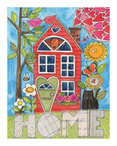 Home (SWEET Home) - 8 x 10 GICLEE PRINT collage illustration, home, Susan Black