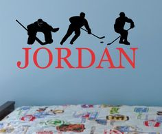 Hockey Vinyl Wall Decal Boy Name Sports Bedroom by AllOnTheWall, $23.00