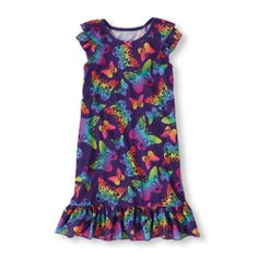 She'll be all a-flutter over this super cute butterfly nightgown!   The Children's Place #butterflies #pajamas #girls