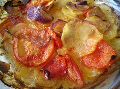 Sformato di patate,pomodori e cipolle di Tropea