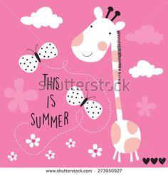cute giraffe with butterflies vector illustration