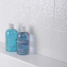 Capua Wall Tile - Black And White Bathroom Ideas - White Tiles - Better Bathrooms Better Bathrooms, Amazing Bathrooms, Black White Bathrooms, Bottle Packaging, White Tiles, Tile Patterns, Wall Tiles, Toilet, New Homes