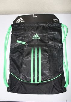 Adidas unisex alliance sport sackpack black   green media safe pocket new   adidas  sackpack 689adf9e4eefe