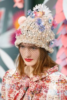 #DIY Mixed Media Embellished Hat & Beanie Inspiration // Chanel Spring 2015 Couture - Collection - Gallery - Style.com
