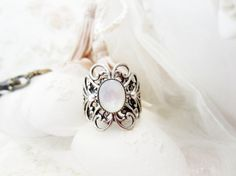 snow white RING with shell cabouchon fairytales  wedding by shmai3, €28.00
