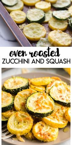 Oven Roasted Zucchini and Squash: a delicious and easy way to serve up some summer produce.  Sprinkled with a touch of seasoning on a bit of parmesan cheese these make a great summer side dish.