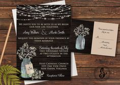 Mason Jar Wedding Invitation Rustic by SugarSpiceInvitation