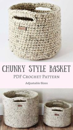 CROCHET PATTERN & TUTORIAL • The Adjustable Basket Pattern • Chunky Texture{ Make Almost Any Size Basket } #crochet #crafts #yarn #basket #pattern #affiliate #etsy