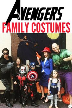 DIY and store bought Avengers Family Costumes. Here's how you can put together a quick Avengers group costume or family Avengers Halloween costume with minor purchases. Put together your favorite Avengers costumes from Avengers: Infinity War. Easy Diy Costumes, Homemade Halloween Costumes, Family Costumes, Group Costumes, Creative Halloween Costumes, Disney Halloween, Halloween Fun, Superhero Halloween, Kid Costumes