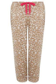 Multi Giraffe Print Pyjama Bottoms, Plus size 14 to 32