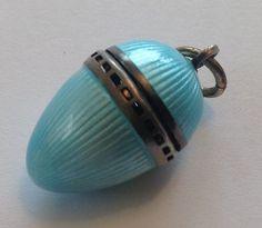 Vintage 1920's Art Deco guilloche enamel perfume egg pendant