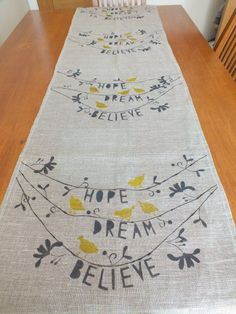 Table Runner  Everyday Collection Hope,Dream,Believe Unbleached Linen Hand Printed on Etsy, $45.39 CAD