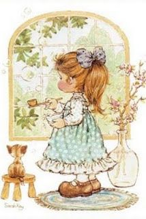 I am watering the plants - Sarah Kay Sarah Key, Illustrations Vintage, Illustration Art, Sara Key Imagenes, Cute Images, Cute Pictures, Mary May, Decoupage, Vintage Drawing