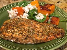 Grilled (or broiled) salmon with an Italian flair. Tuscan Salmon Recipe, Salmon Recipes, Vegetarian Main Dishes, Fish And Seafood, Recipe Box, Salmon Burgers, Food Dishes, Poultry, Meat