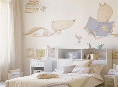 Great wall decoration for children's room Ideas Habitaciones, Ideas Dormitorios, Wall Decor, Room Decor, Wall Art, Wall Mural, Baby Room Design, Kid Spaces, Kids Bedroom