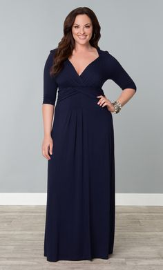 Our plus size Desert Rain Dress is now available in a refined navy option.  Change it up and go with this dark hue instead of the classic black.  Soft jersey material and ¾ sleeves will keep you comfortable all day long.  #KiyonnaPlusYou #Plussize #Kiyonna
