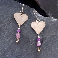 Amethyst heart earrings Silver heart dangle earrings Fine silver earrings February birthstone Birthday gift by Ducky Rubin 102.00 USD