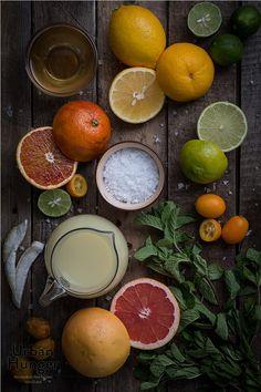 Orientalischer Citrus Drink Zutaten / Oriental Citrus Drink ingredients - Grapefruit , Lime , Lemon , Kumquat , Mint , Blood Orange