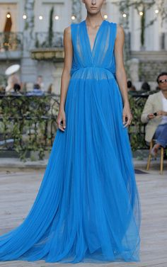 Sleeveless Ruched Gown by DELPOZO for Preorder on Moda Operandi