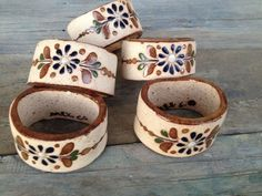 SET (5) CERAMIC POTTERY HAND PAINTED RUSTIC STYLE NAPKIN RINGS FROM MEXICO #Handmade #RusticCountryStyle