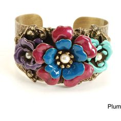 Sweet Romance Pewter Faux Pearl and Glass Camellia Cuff Bracelet ($47) ❤ liked on Polyvore featuring jewelry, bracelets, braceletes, purple, tri color jewelry, glass jewelry, colorful jewelry, pewter jewelry and flower cuff bracelet