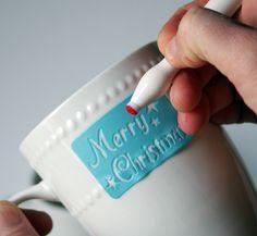 DIY Dollar Store Mugs - Christmas Gift Stenciled   #MarthaStewartHoliday