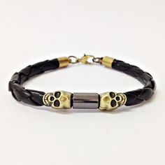 Pulseira Masculina couro caveira mens bracelets fashion moda homem cocar brasil