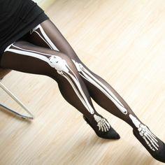 233dfd82d Sexy Skeleton Legs Tights Calças Justas
