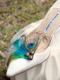 Wedding Shoe Clips. Peacock & Rooster Feathers. by sofisticata