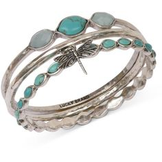 Lucky Brand Bracelet Set, Silver-Tone Turquoise Dragonfly Bangle Bracelets and other apparel, accessories and trends. Browse and shop 6 related looks.
